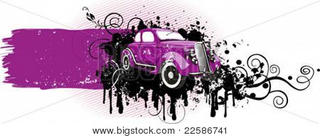 Vector illustration of vintage pink car. Grunge version. Pla?e for you text.