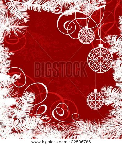 Abstract Christmas background, vector in red color.