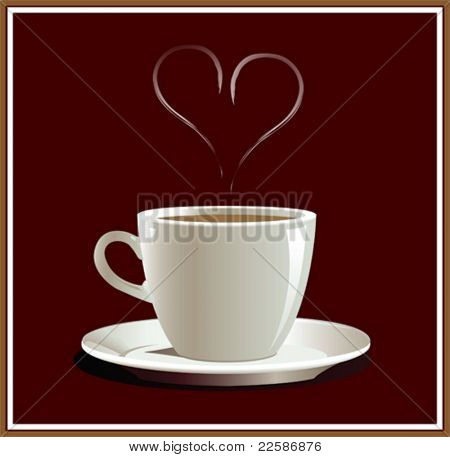 Cup of coffee with hart. Vector illustration.