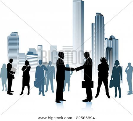 Business people in the big city - vector silhouette illustration. Urban background.