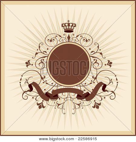 Ilustración vintage con corona redonda
