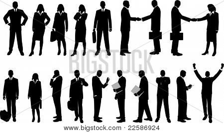 Collection of business people in silhouette in different poses.