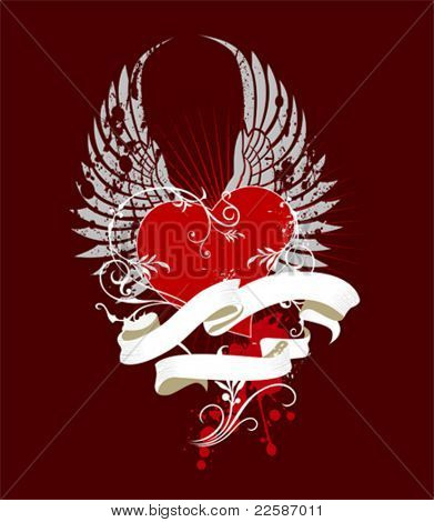 Wing and heart. Valentine illustration - vector.