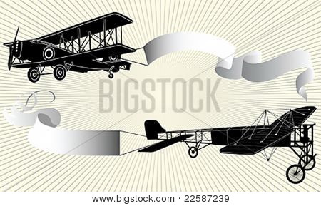 Biplane pulling a blank banner. Airplane with ribbon. Vector illustration.