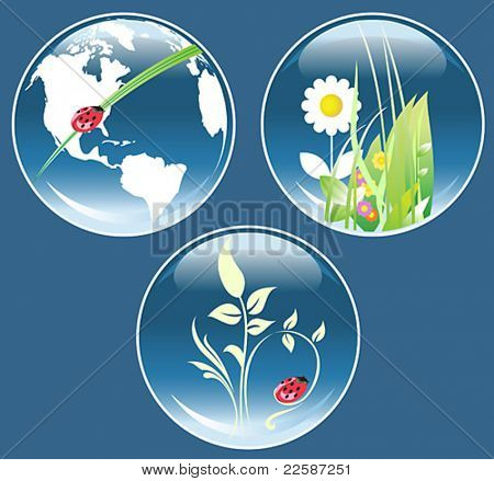 Recycle sign with globe, hourglass with globe. Ecological concept. Vector illustration.