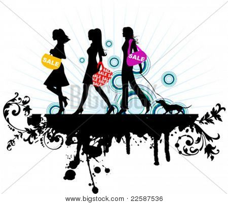 Shopping girls, vector illustration