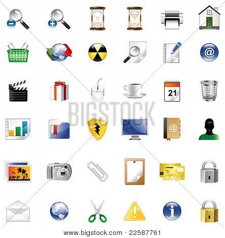 Set of icons for website, icons for network, vector illustration