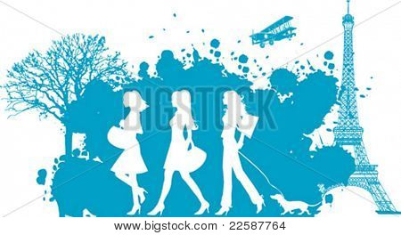 Shopping girls, Paris, vector illustration