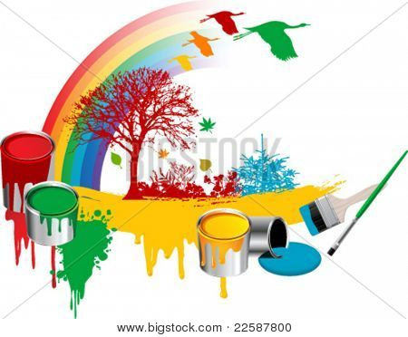Brushes, paint, buckets, flowers, tree and rainbow, vector illustration