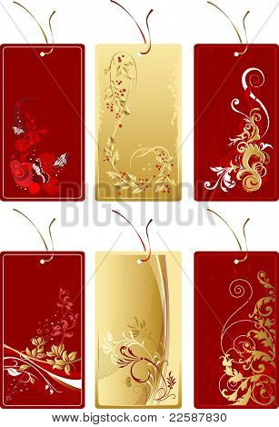 Set of red and gold labels with abstract flower background, raster version of vector illustration