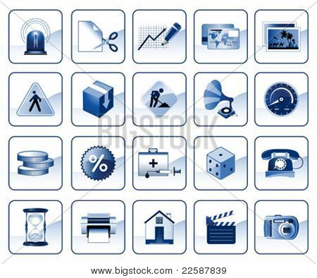 Set of icons for website in blue color, vector illustration