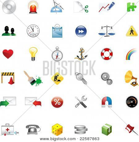 Set of icons for website, icons for network, raster version of vector illustration