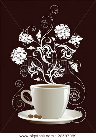 Cup of coffee with floral design elements. Vector illustration.