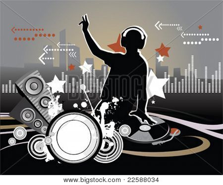 Dj, music concept, vector illustration