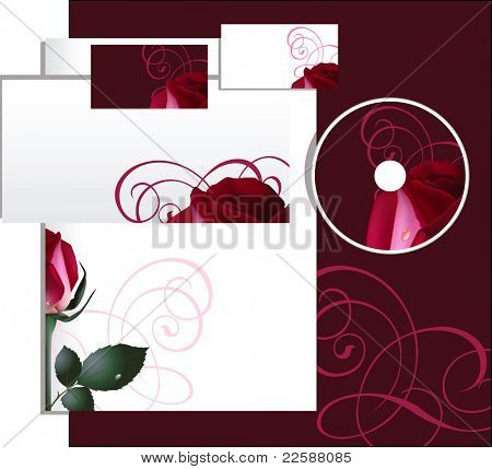 Business style with red rose, raster version of vector illustration