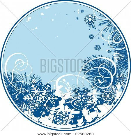 Round Christmas background, raster version of vector illustration