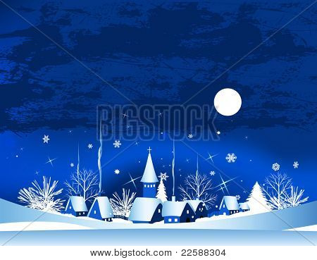 Christmas card with town, snow and moon, raster version of vector illustration