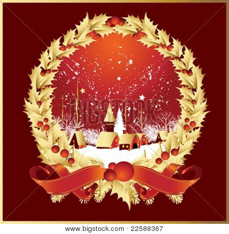 Vector wreath ribbons snow globe with a town in red color, vector illustration