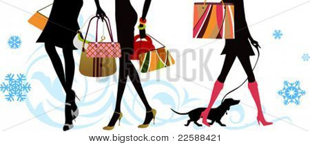 Christmas shopping lags, vector illustration