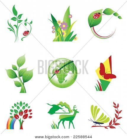 Set of ecology icons, raster version of vector illustration