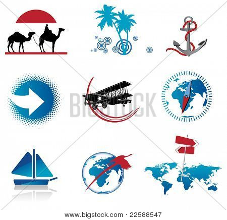 Set of travel icons, raster version of vector illustration