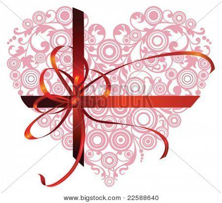 Coração vermelho com ornamentos de filigrana, ilustração vetorial