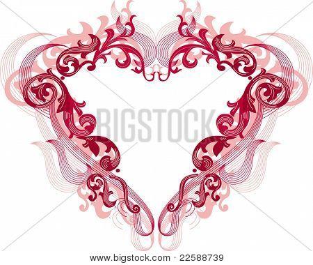 Coração vermelho com ornamentos de filigrana, escala de imagens em qualquer tamanho