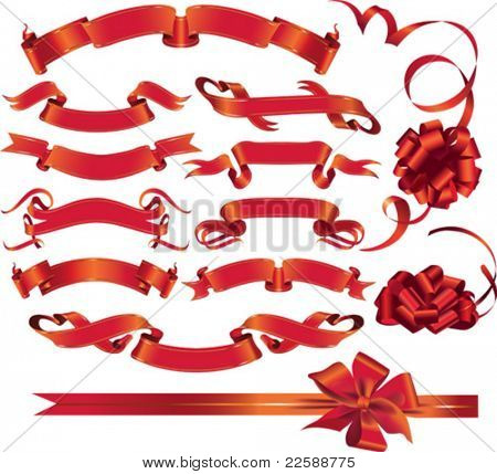 Set of red ribbons and bows, vector images scale to any size.