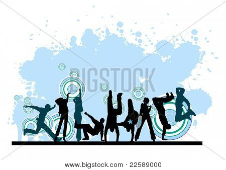 Everyone dancing and having fun. Dancing people.  Raster version of vector illustration.