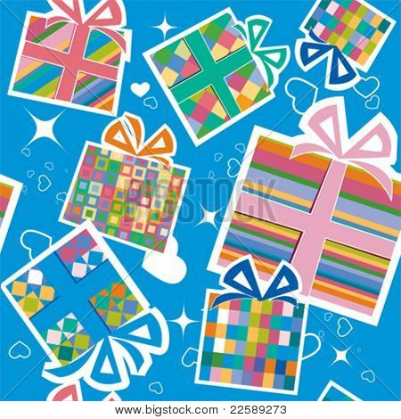 Wallpaper with gift boxes. All elements and textures are individual objects. Vector illustration scale to any size.