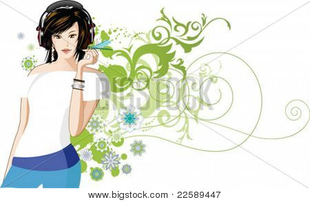 Women is listening to music. All elements and textures are individual objects. Vector illustration scale to any size.