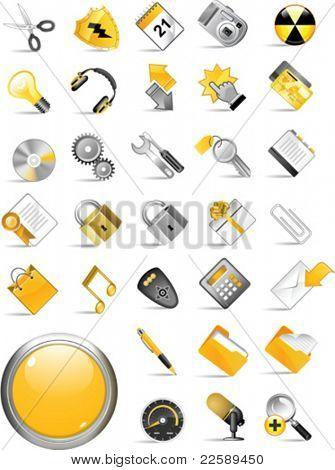 Conjunto de iconos de internet. Todos los elementos son objetos individuales. Escala de ilustración vectorial a cualquier tamaño.
