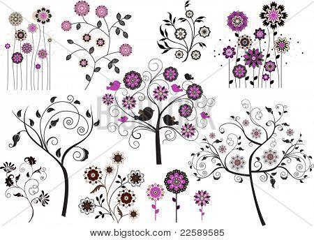 Set of abstract design floral elements. Raster version of vector illustration.