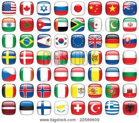Conjunto de bandeiras do mundo. Todos os elementos e texturas são objetos individuais. Vector escala de ilustração para um
