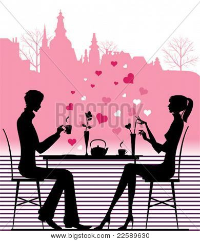 Silhouette of the couple in the cafe. All elements and textures are individual objects. Vector illustration scale to any size.
