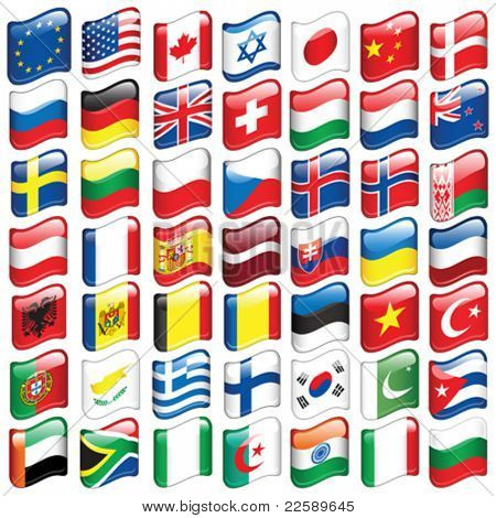 Set of world flags. All elements and textures are individual objects. Vector illustration scale to any size.