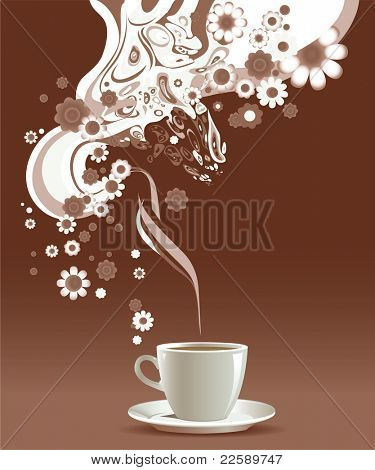 Coffee cup with floral pattern. Raster version of vector illustration.