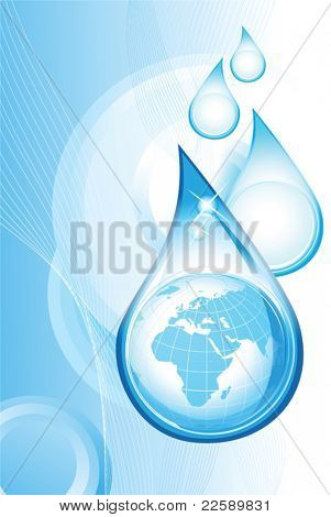 Drops with Earth. All elements and textures are individual objects. Vector illustration scale to any size.