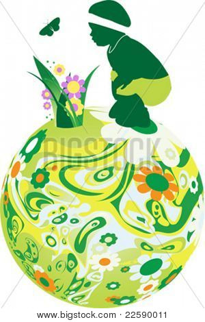 Child on the floral sphere. All elements and textures are individual objects. Vector illustration scale to any size.