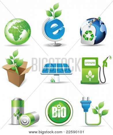 Eco signs. All elements and textures are individual objects. Vector illustration scale to any size.