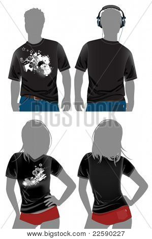 T-shirt design templates in dark colors. All elements and textures are individual objects. Vector illustration scale to any size.