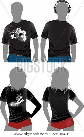 T-shirt design templates in dark colors.Raster version of vector illustration.