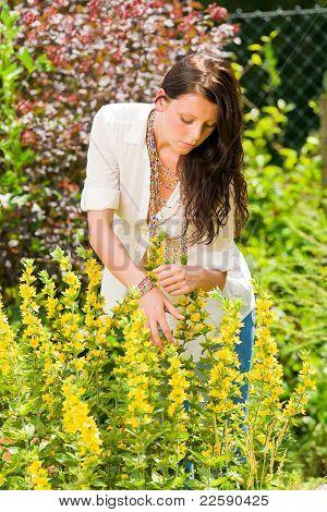 Beautiful Woman Sunny Garden Care Yellow Flowers