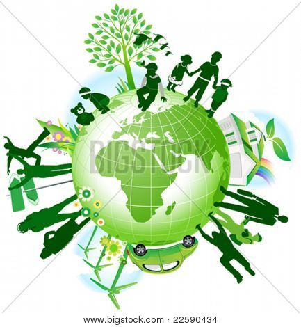 Global eco. All elements and textures are individual objects. Vector illustration scale to any size.