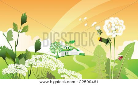 Country eco landscape. All elements and textures are individual objects. Vector illustration scale to any size.