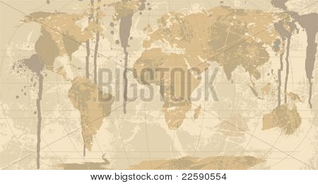 A Grunge, Rustic World Map. All elements and textures are individual objects. Vector illustration scale to any size.