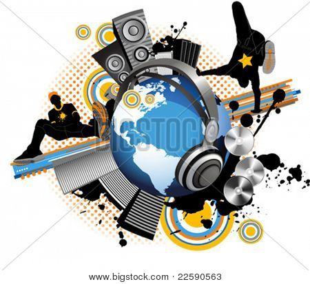 Globe with dancing youth men. Music city. All elements and textures are individual objects. Vector illustration scale to any size.