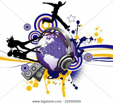 Globe with dancing youth men and women. Music city. All elements and textures are individual objects. Vector illustration scale to any size.
