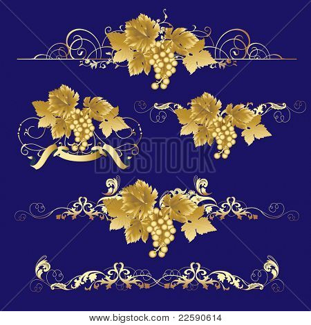 Golden Grapes.  Raster version of vector illustration.