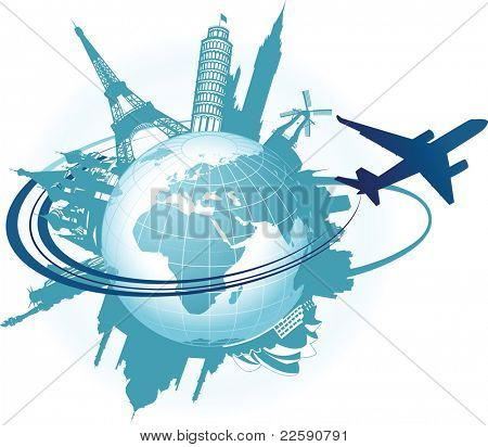 Travel background. Raster version of vector illustration.